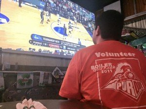 Meghan took this photo of me extremely focused on the game just after tip-off.