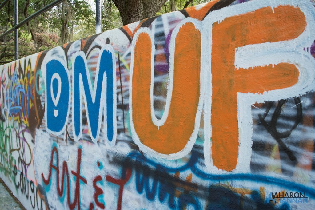 The logo of Dance Marathon at University of Florida is cleanly painted over existing graffiti